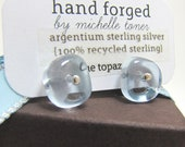December Frost: Natural Blue Topaz Earrings in Recycled Sterling Silver