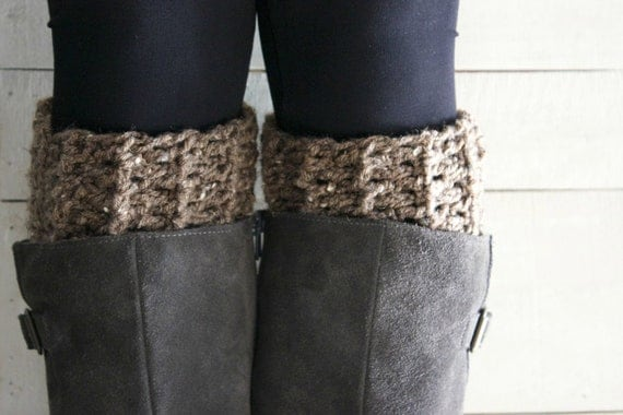 Boot Cuffs for Women in Flecked Barley / Brown Boot Cuffs/ Socks for Women / Boot Toppers / Winter Boot Accessories for Women