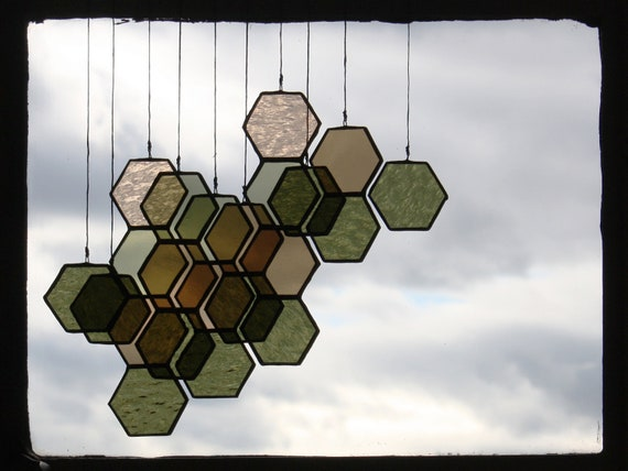 Stained Glass Ombre Honeycomb Drops (set of 10)