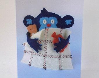 Get Well Soon Card Poorly Monkey pale ill sick blanket hot water bottle teddy bear