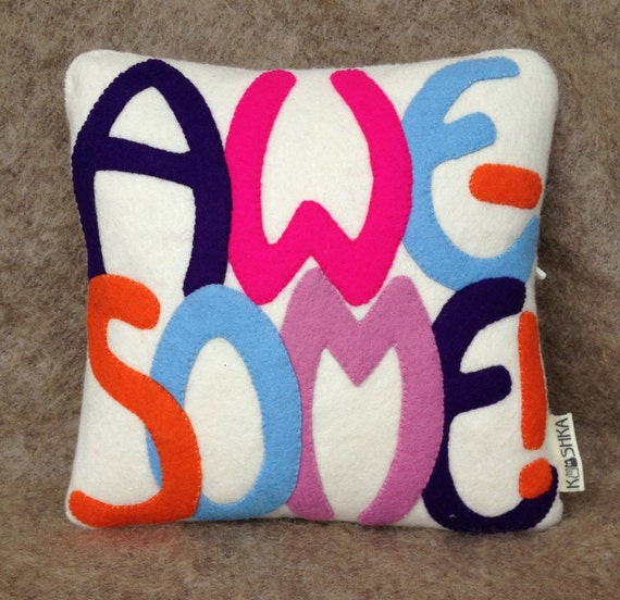 Modern Mini Cushion Wool Felt AWESOME neon pink orange blue navy lilac