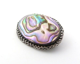Sterling Silver Abalone Brooch in Green Pink Blue Purple