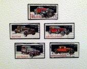 upcycled classiest of the classics cars US postage stamp collection--set of 5 magnets