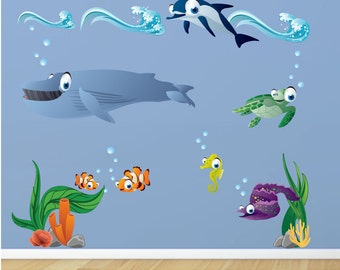 Dolphin Whale wall decals, Under the Sea Waves Fish and Coral Fabric Wall Decals, Removable and Repositionable Decals
