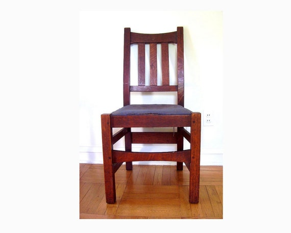 Stickley Bros. Mission Oak Side Chair Period Arts And Crafts