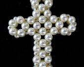 White Pearl Cross Pendant