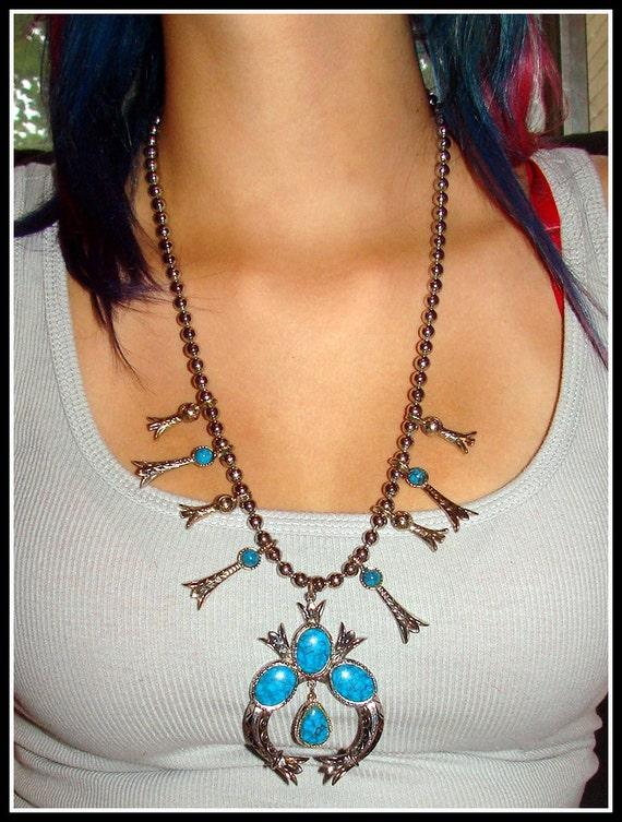 Fantastic Vintage 1960s Art Navajo Squash Blossom Necklace