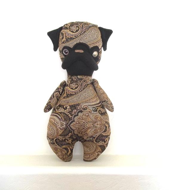 Mon Cher Pug (paisley, gold, brown, black, yellow, button, old, folk, vintage) pug doll, pug stuffed animal, toy children, art doll