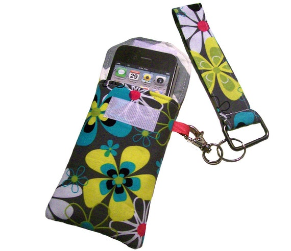 iPhone Wallet Set, Retro Flowers Fabric, iPod case, Smartphone case