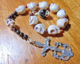 Memento Mori Sterling Silver & Garnet One Decade Rosary