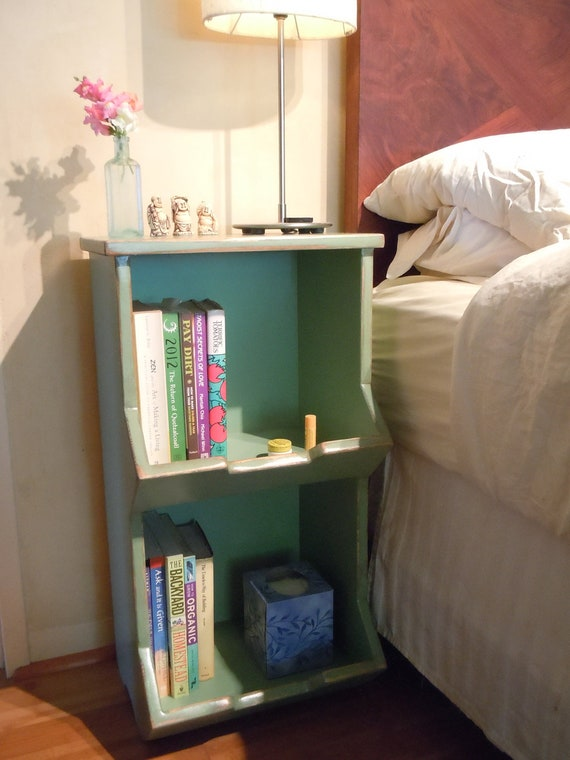 One (1) x Amy Madera Bedside Table Rustic Laying Boxes in  New Leaf Green inside and out (1 Nightstand per order)