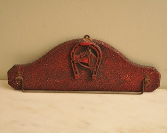 Vintage Wooden Horse with Horse Shoe Red Tie Hanger Towel Bar