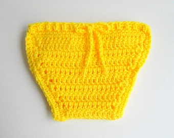 Yellow Diaper Cover  Baby Girl  Soaker Infant Boy Cozy With Matching Tie  3 To 6   Months  Children Crochet Nappy  Clothing Ready To Ship