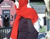 Santa's Helper Hoodie Scarf- Scoodie- Hooded scarf In Red & White. Pet, Smoke, and Fragrance-free
