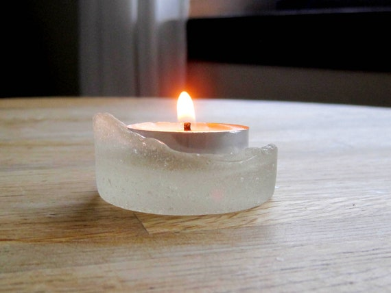 Genuine Sea Glass Luminary  - Frosted Candle Holder  - Shabby Chic Decor - A06-28