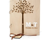 Wood Wedding Guestbook with Tree and Custom Initials Christmas Gift