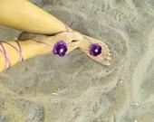 Purple Violet Beach wedding barefoot sandals, bangle, wedding anklet
