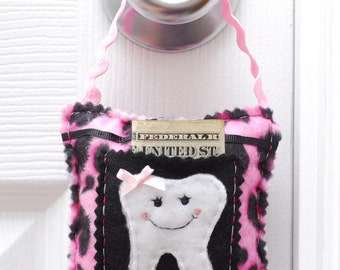Pink Leopard Tooth Fairy Pillow