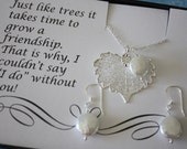 Bridesmaid Necklaces, Leaf Necklaces, Necklace & Earring Set, Pearl Necklace, Thank You Card, Bridesmaid Card