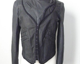 Leather Jacket/ Washed Indigo Modern Biker / Motor Biker Jacket