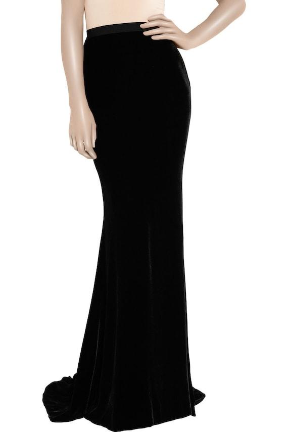 black velvet maxi skirt custome velvet maxi skirt black