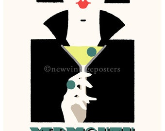 Art Deco Martini 'Egyptian' giclee poster print
