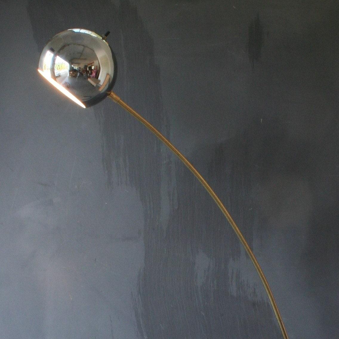 mid century modern chrome ball arc floor lamp. Black Bedroom Furniture Sets. Home Design Ideas