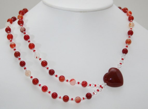 Red Heart Necklace, Gemstones Agate Carnelian, Pure sterling silver, CRYSTALLIZED Swarovski Elements, A Symmetrical Design, Free UK Postage