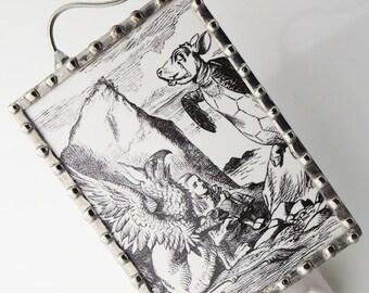 Alice in Wonderland Night Light, Nightlight with Storybook Illustration - Black and White N42