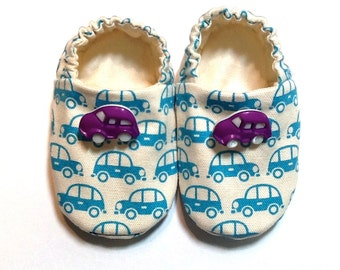 Cars Baby Boy Shoes, 0-6 mos. Baby Booties, Soft Sole Shoes, Boy Crib Shoes, Slip on Baby Shoes, Shoes with Cars, Soft Booties, Baby Gift