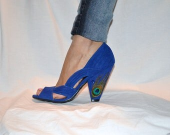 Royal Blue Peacock Heels 6.5