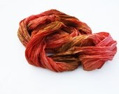 orange silk scarf - Charming dance -  brown, light brown, walnut, hazelnut, cognac, orange, coral silk scarf.