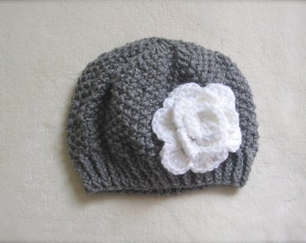 Gray Beanie with White Flower for Girls. Knitted Grey and White Beanie. Gray Beanie for Girls. Custom made Beanies