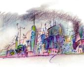 Horizon City 3 - Original mixed media Drawing - 16 x 5 inch - Print
