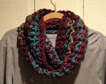 Crochet Infinity Scarf Cowl Wine Turquoise Sage Green V Stitch Chunky Soft Warm