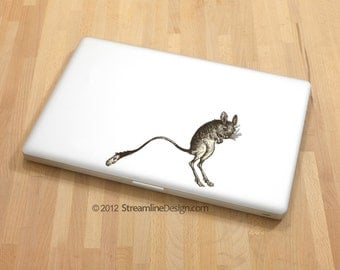 Kangaroo Mouse Vinyl Laptop or Automotive Art - FREE SHIPPING netbook notebook tablet cute sticker decal vintage illustration jumping