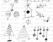 Christmas Photoshop Brushes Set One / Overlays for Photographers / Clip Art / Digital Stamps / Digital Scrapbooking.