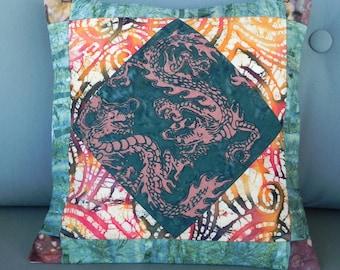 Green Dragon Batik Pillow Cover