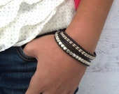 Black Leather Wrap Bracelet, Black Bracelet, Double Wrap, Simple, Everyday, Rocker Chick, Unique Fashion, Biker Girl, Gift for Her