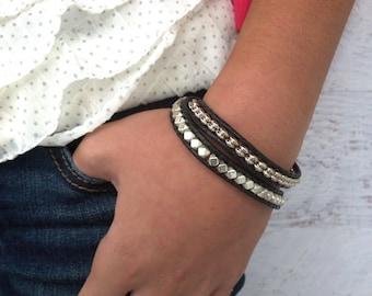 Black Leather Wrap Bracelet, Black Bracelet, Gifts for Mom, Bracelets for Women, Leather Bracelets, Handmade Jewelry, Gifts for Girlfriend