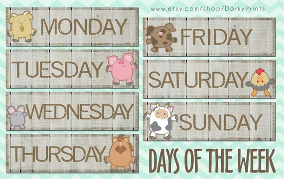 Days of the Week Farm Animals PDF preschool by DorkyPrints