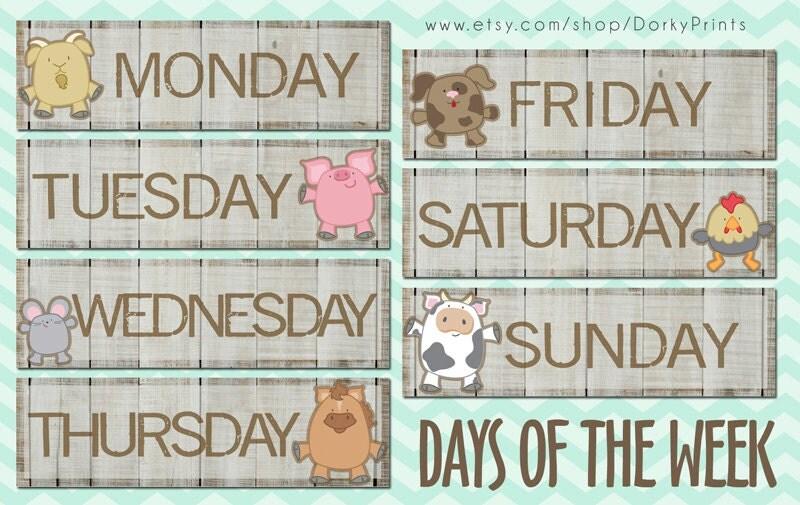 Number Names Worksheets days of the week printable : Days of the Week Farm Animals PDF preschool by DorkyPrints