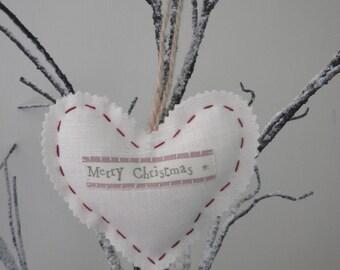Merry Christmas - Handmade Linen Heart - Decoration