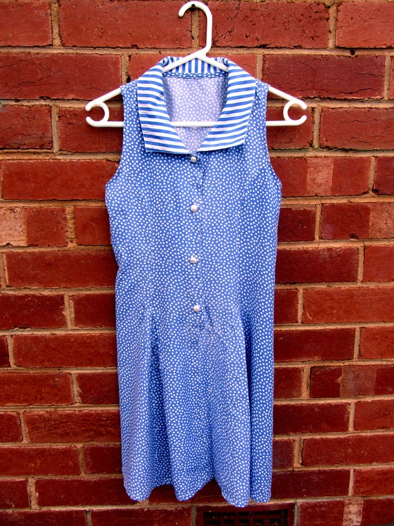 VINTAGE Blue & White Summer Dress with Striped Collar PETITE