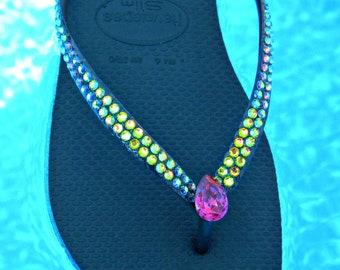 Havaianas Slim Flip Flops Custom Crystal Vitrail Medium jewel GlassSlippers w/ Swarovski Rhinestone Bling Vintage Fuchsia Pear Teardrop Shoe