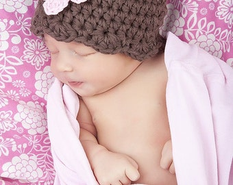 Baby Girl Hat 0 to 3 Month Chocolate Brown Baby Hat Crochet Flower Hat Pink Flower Flapper Beanie Baby Girl Clothes Photo Prop Baby Beanie