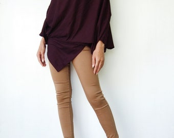 NO.63 Plum Cotton Jersey  Asymmetrical Tunic Top