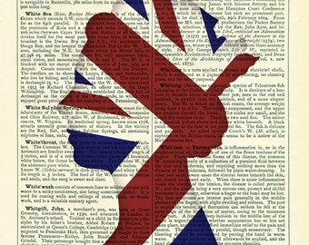 Jubilee Queen with Union Jack Flag Dictionary Art Print Vintage Upcycled Book Page Poster