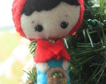 Little Red Riding Hood Felt ornament. Christmas Ornament. Felt Doll.