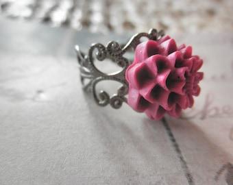 CLEARANCE 50% OFF Vintage Look Gunmetal Filigree and Dusty Purple Mum Adjustable Ring